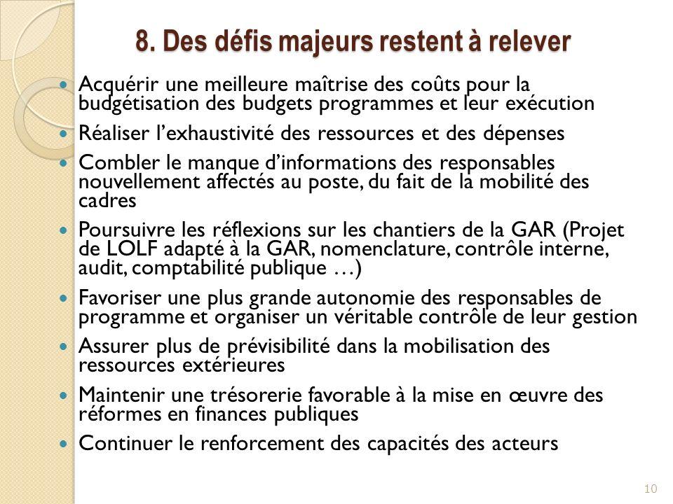 8. Des défis majeurs restent à relever Acquérir une meilleure maîtrise des coûts pour la budgétisation des budgets programmes et leur exécution Réalis