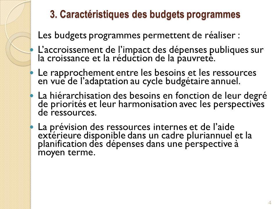 3. Caractéristiques des budgets programmes Les budgets programmes permettent de réaliser : Laccroissement de limpact des dépenses publiques sur la cro