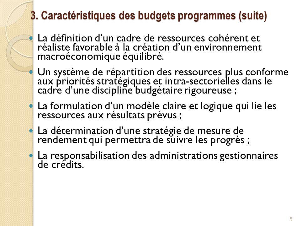 3. Caractéristiques des budgets programmes (suite) La définition dun cadre de ressources cohérent et réaliste favorable à la création dun environnemen