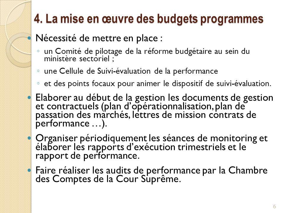 4. La mise en œuvre des budgets programmes Nécessité de mettre en place : un Comité de pilotage de la réforme budgétaire au sein du ministère sectorie