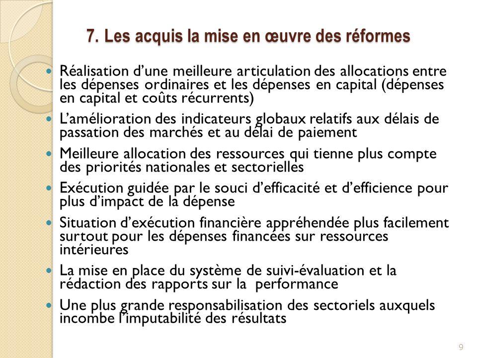 7. Les acquis la mise en œuvre des réformes Réalisation dune meilleure articulation des allocations entre les dépenses ordinaires et les dépenses en c