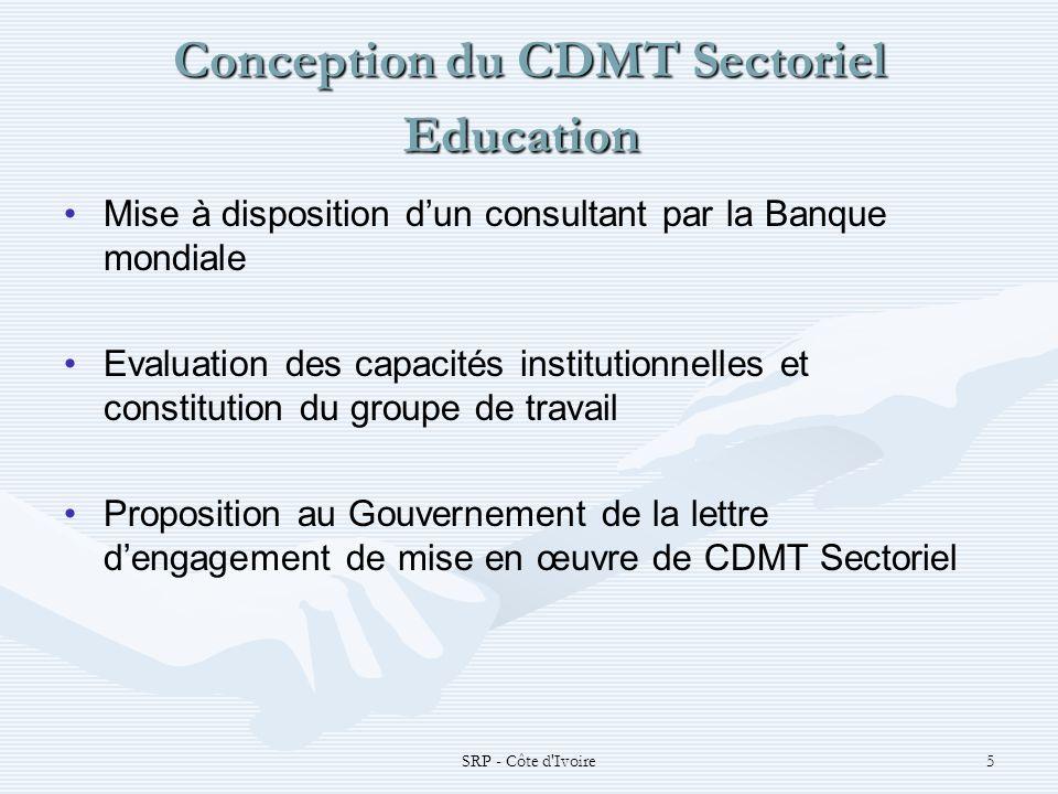 SRP - Côte d Ivoire6 Conception du CDMT Sectoriel Education Conception du CDMT Sectoriel Education Collecte des informations macroéconomiques (cadrage macroéconomique FMI) Collecte des données et informations statistiques (projection démographique, information sur les programmes scolaires, reformes prévues, alignement entre les objectifs sectoriels et le DSRP) Etablissement du CDMT Mise en place du cadre de suivi de la mise en œuvre du CDMT