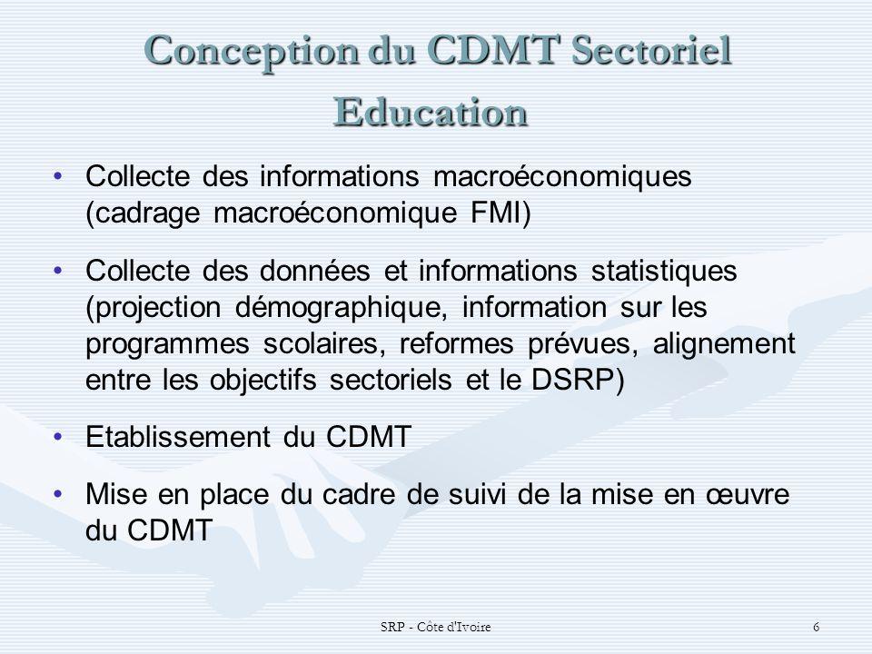 SRP - Côte d'Ivoire6 Conception du CDMT Sectoriel Education Conception du CDMT Sectoriel Education Collecte des informations macroéconomiques (cadrage