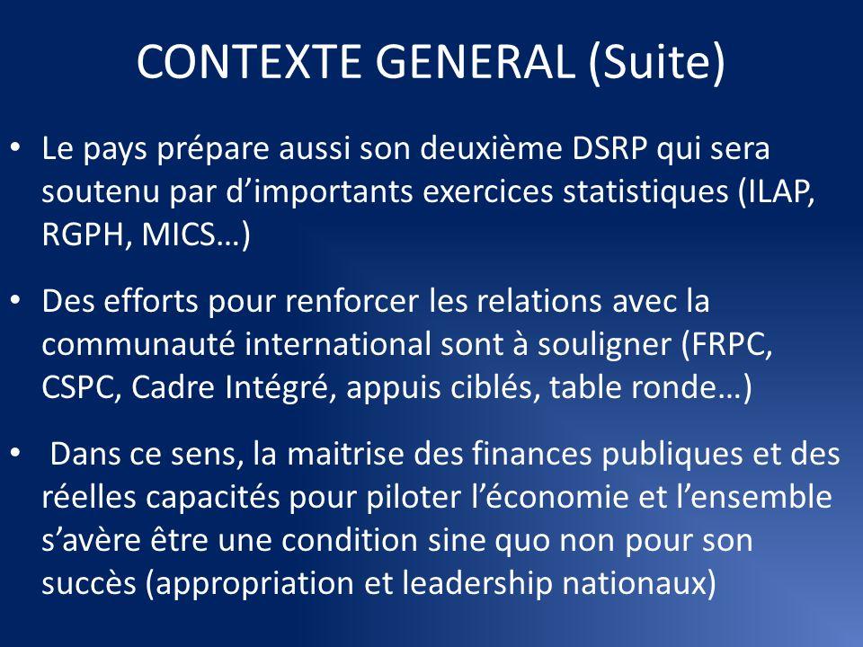 CONTEXTE GENERAL (Suite) Le pays prépare aussi son deuxième DSRP qui sera soutenu par dimportants exercices statistiques (ILAP, RGPH, MICS…) Des effor