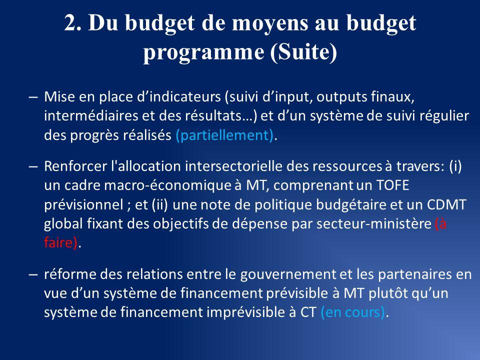 2. Du budget de moyens au budget programme (Suite) – Mise en place dindicateurs (suivi dinput, outputs finaux, intermédiaires et des résultats…) et du