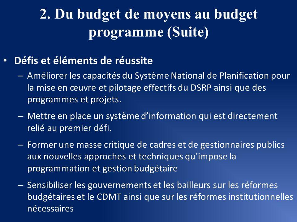 2. Du budget de moyens au budget programme (Suite) Défis et éléments de réussite – Améliorer les capacités du Système National de Planification pour l