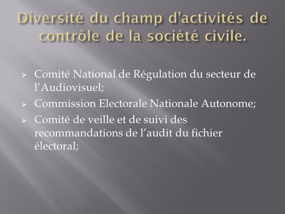 Comité National de Régulation du secteur de lAudiovisuel; Commission Electorale Nationale Autonome; Comité de veille et de suivi des recommandations de laudit du fichier électoral;
