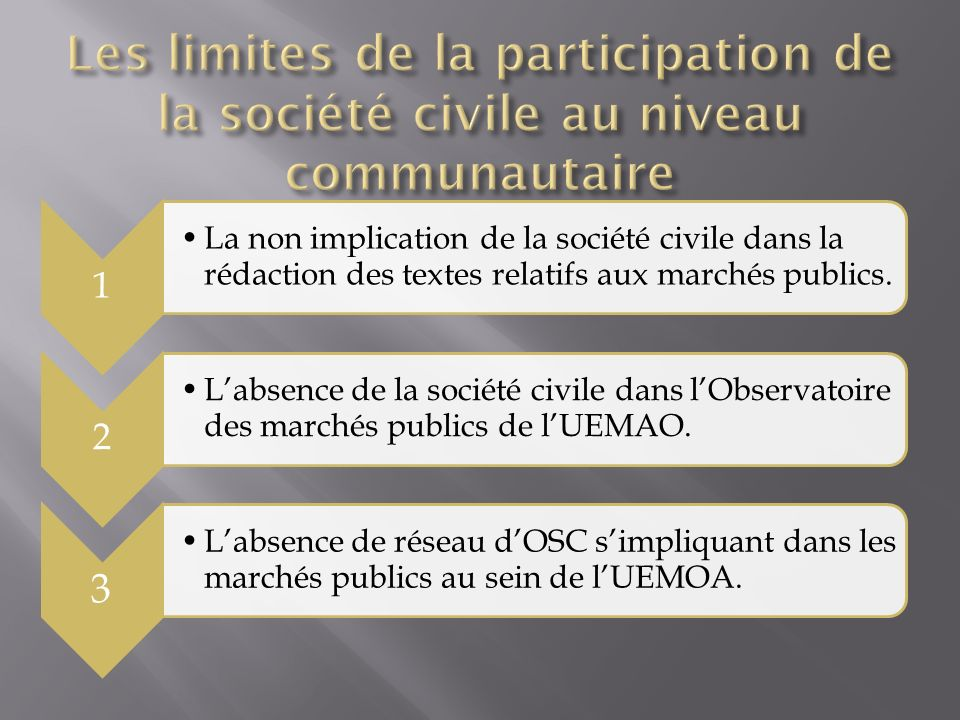 1 La non implication de la société civile dans la rédaction des textes relatifs aux marchés publics.