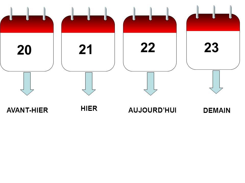 20 21 2223 AUJOURDHUI HIER AVANT-HIER DEMAIN
