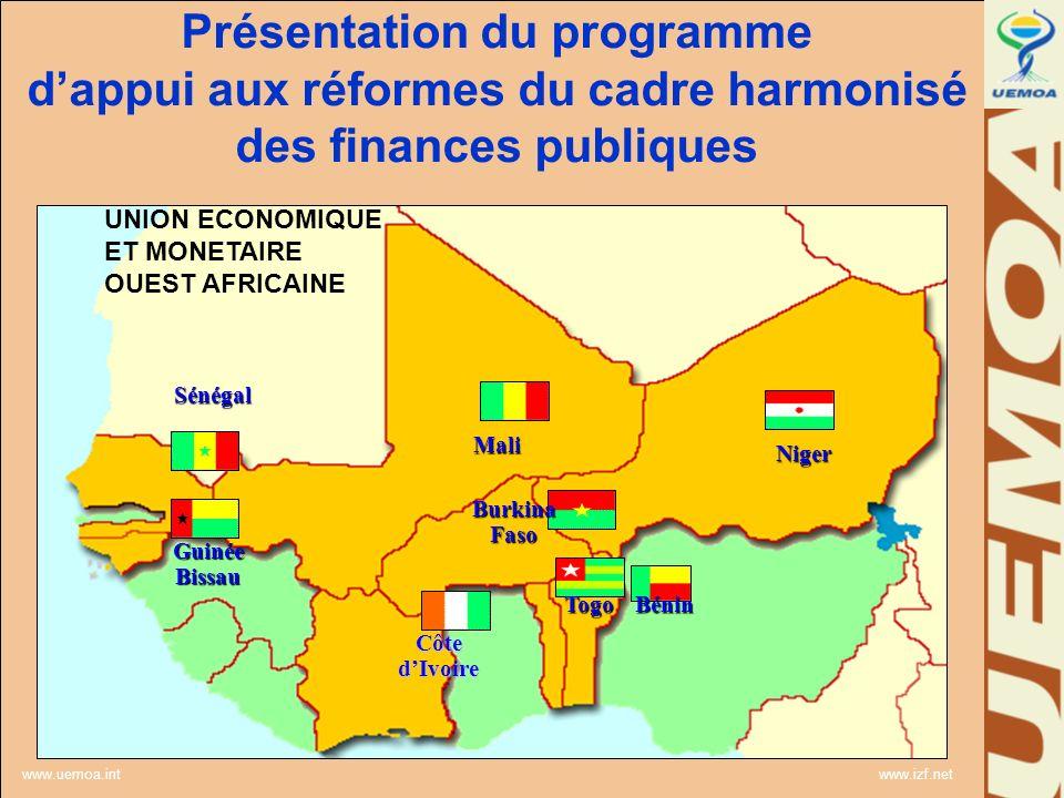 www.uemoa.int www.izf.net UNION ECONOMIQUE ET MONETAIRE OUEST AFRICAINE Togo Bénin Burkina Faso Sénégal Mali Guinée Bissau Côte dIvoire Niger Présenta