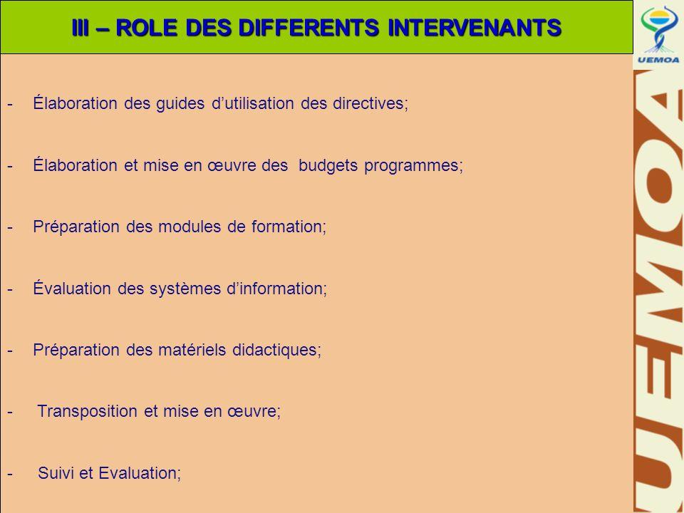 -Élaboration des guides dutilisation des directives; -Élaboration et mise en œuvre des budgets programmes; -Préparation des modules de formation; -Éva