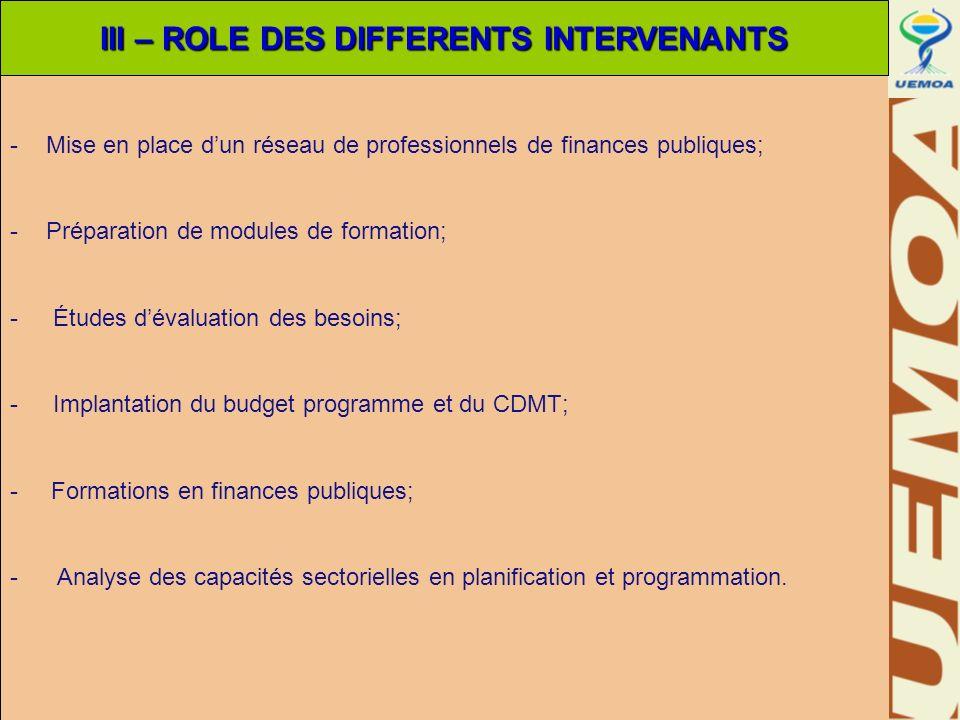 -Mise en place dun réseau de professionnels de finances publiques; -Préparation de modules de formation; - Études dévaluation des besoins; - Implantat