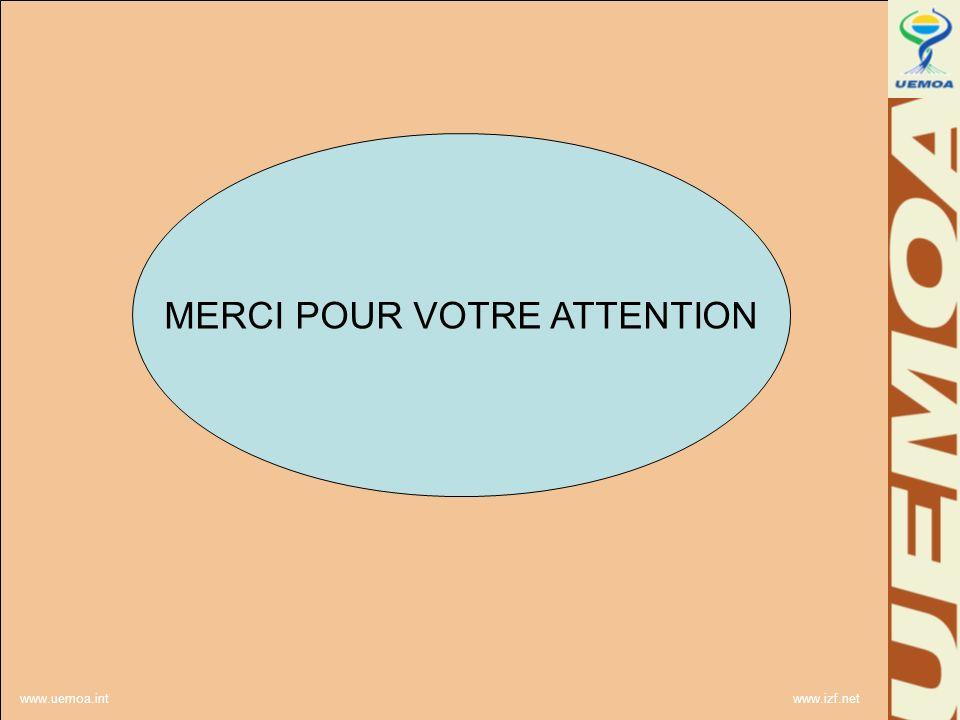 www.uemoa.int www.izf.net MERCI POUR VOTRE ATTENTION