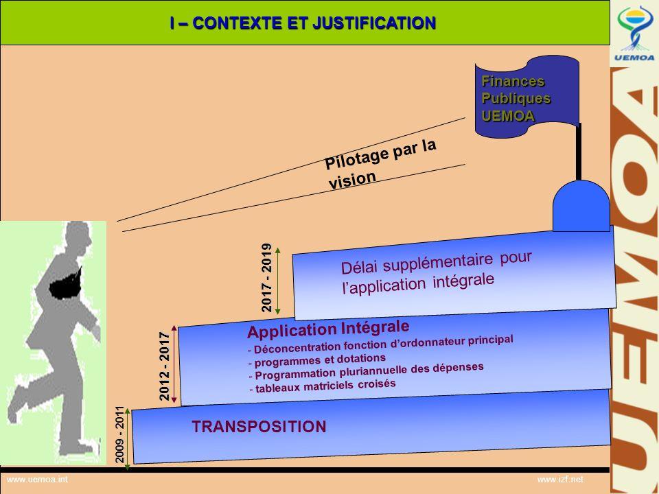 www.uemoa.int www.izf.net I – CONTEXTE ET JUSTIFICATION FinancesPubliquesUEMOA Pilotage par la vision TRANSPOSITION Application Intégrale - Déconcentr