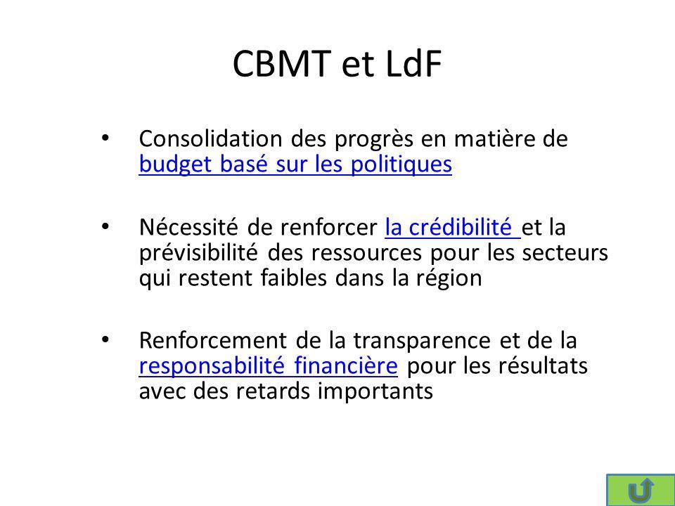 CBMT et LdF Consolidation des progrès en matière de budget basé sur les politiques budget basé sur les politiques Nécessité de renforcer la crédibilité et la prévisibilité des ressources pour les secteurs qui restent faibles dans la régionla crédibilité Renforcement de la transparence et de la responsabilité financière pour les résultats avec des retards importants responsabilité financière