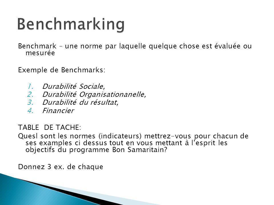 Benchmark – une norme par laquelle quelque chose est évaluée ou mesurée Exemple de Benchmarks: 1.Durabilité Sociale, 2.Durabilité Organisationanelle,