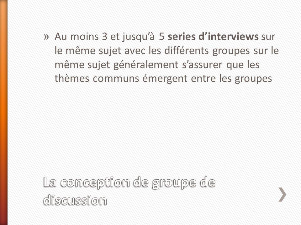 » Au moins 3 et jusquà 5 series dinterviews sur le même sujet avec les différents groupes sur le même sujet généralement sassurer que les thèmes communs émergent entre les groupes