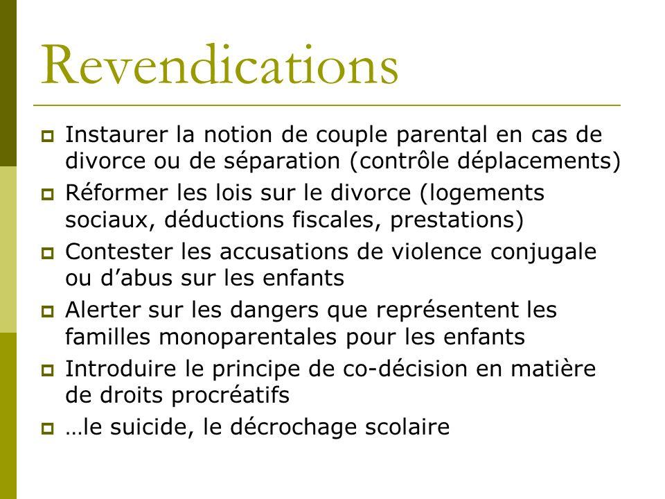 Revendications Instaurer la notion de couple parental en cas de divorce ou de séparation (contrôle déplacements) Réformer les lois sur le divorce (log