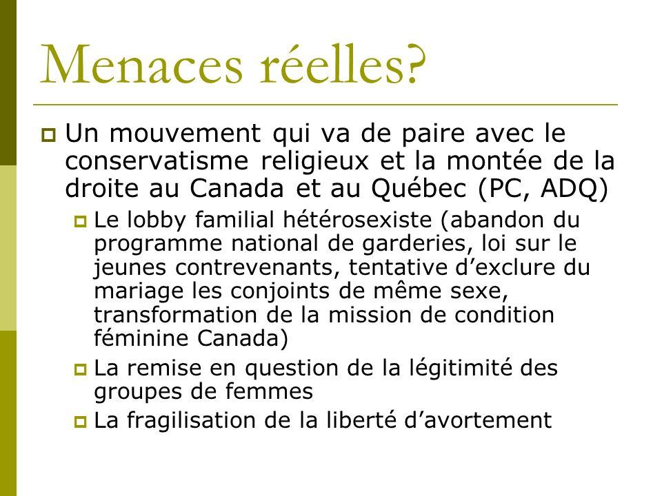 Menaces réelles? Un mouvement qui va de paire avec le conservatisme religieux et la montée de la droite au Canada et au Québec (PC, ADQ) Le lobby fami