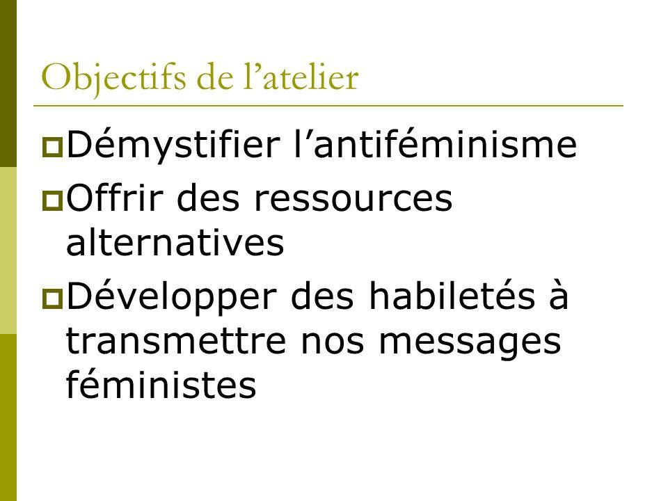 Objectifs de latelier Démystifier lantiféminisme Offrir des ressources alternatives Développer des habiletés à transmettre nos messages féministes