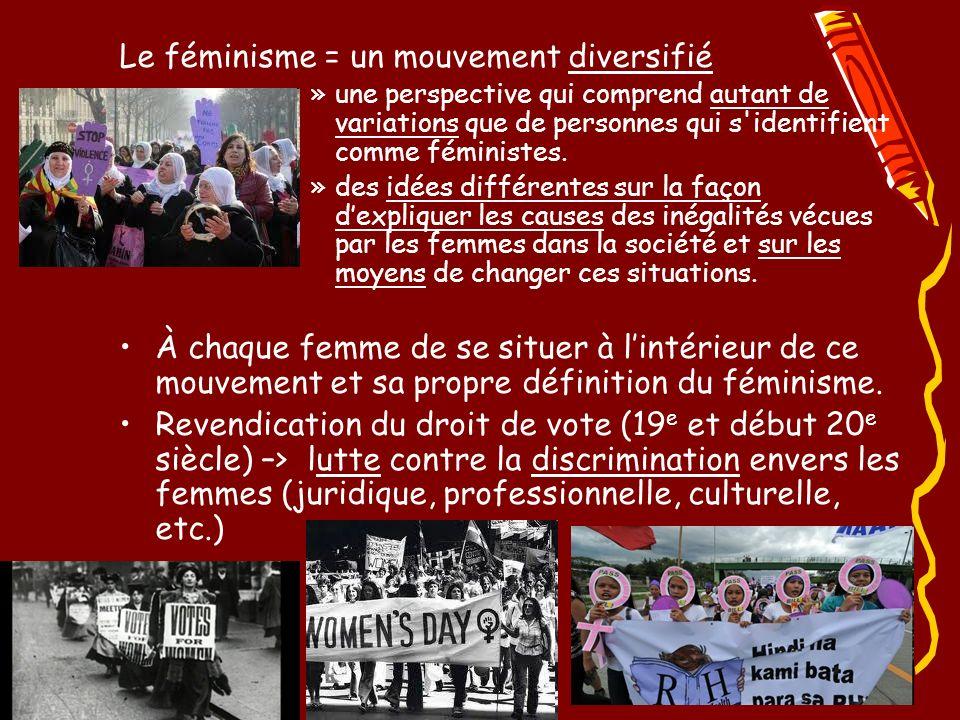 Le féminisme = un mouvement diversifié »une perspective qui comprend autant de variations que de personnes qui s identifient comme féministes.