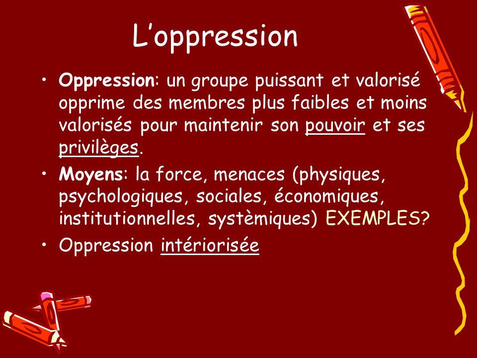 Loppression Oppression: un groupe puissant et valorisé opprime des membres plus faibles et moins valorisés pour maintenir son pouvoir et ses privilège
