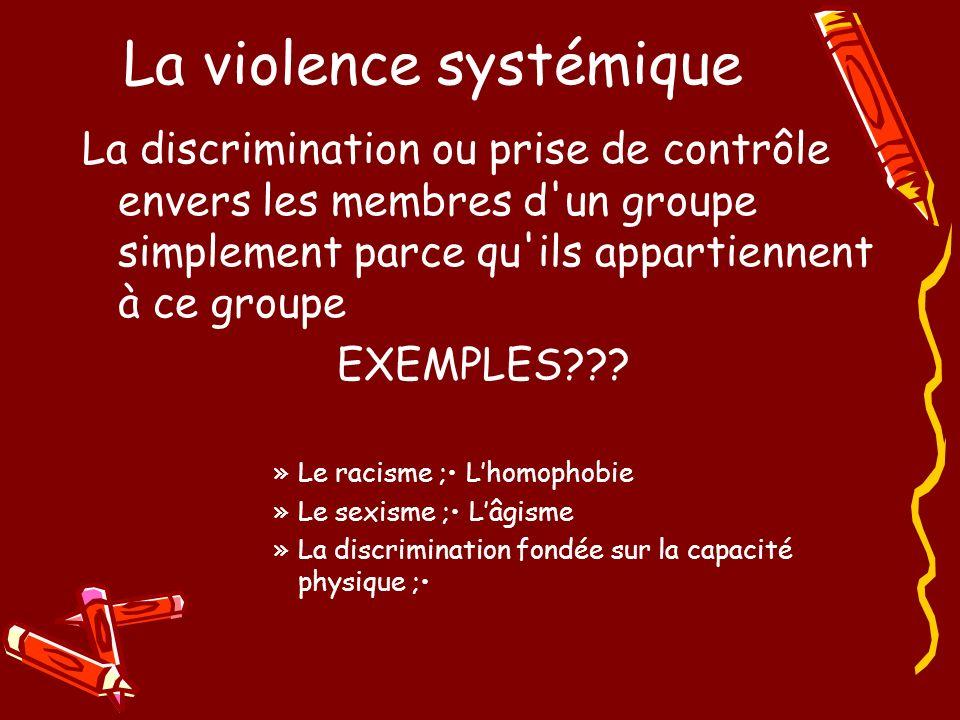 La violence systémique La discrimination ou prise de contrôle envers les membres d un groupe simplement parce qu ils appartiennent à ce groupe EXEMPLES .