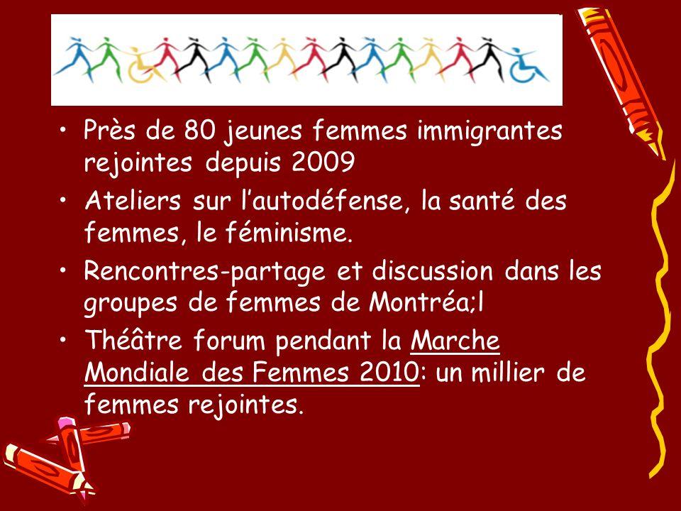 Près de 80 jeunes femmes immigrantes rejointes depuis 2009 Ateliers sur lautodéfense, la santé des femmes, le féminisme.
