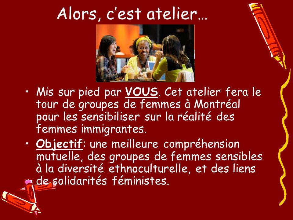 Alors, cest atelier… Mis sur pied par VOUS. Cet atelier fera le tour de groupes de femmes à Montréal pour les sensibiliser sur la réalité des femmes i