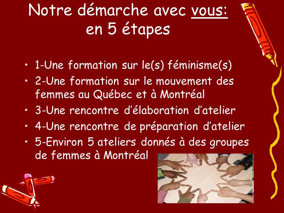 1-Une formation sur le(s) féminisme(s) 2-Une formation sur le mouvement des femmes au Québec et à Montréal 3-Une rencontre délaboration datelier 4-Une rencontre de préparation datelier 5-Environ 5 ateliers donnés à des groupes de femmes à Montréal Notre démarche avec vous: en 5 étapes