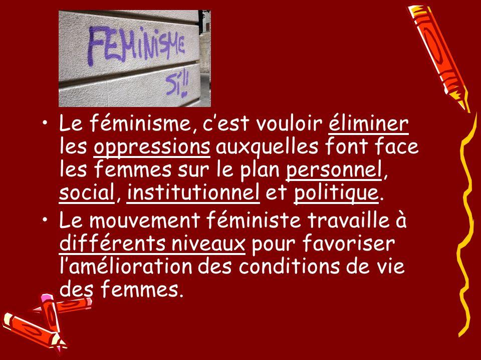 Le féminisme, cest vouloir éliminer les oppressions auxquelles font face les femmes sur le plan personnel, social, institutionnel et politique.