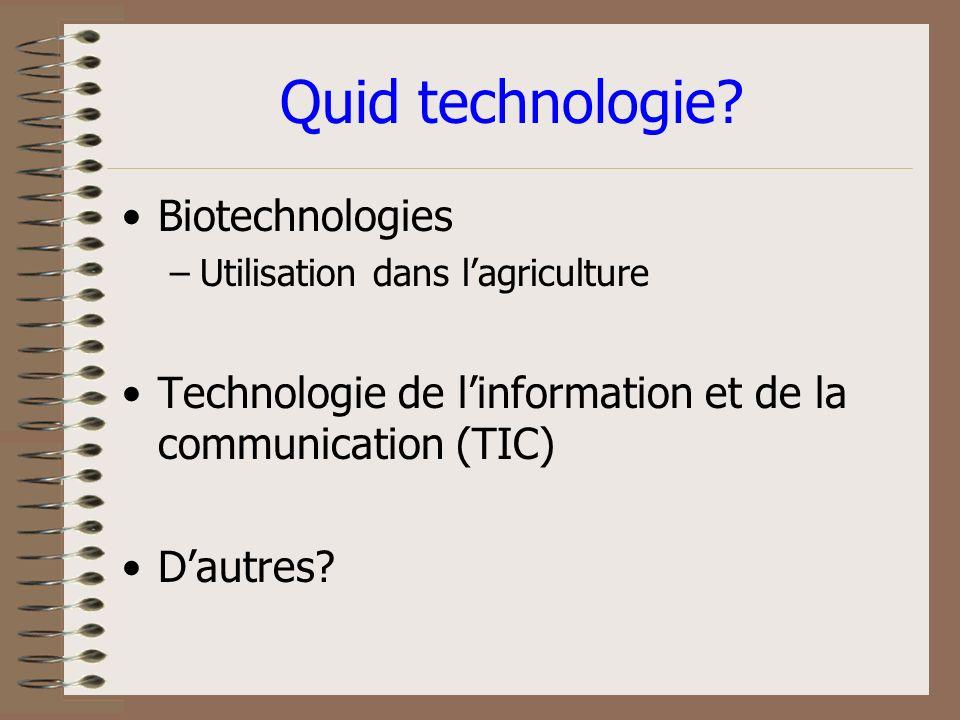 Technologie - cest quoi? Savoir-faire La maîtrise des matériaux, des outils ou des instruments. Capital humain et les outils/instruments (capital)