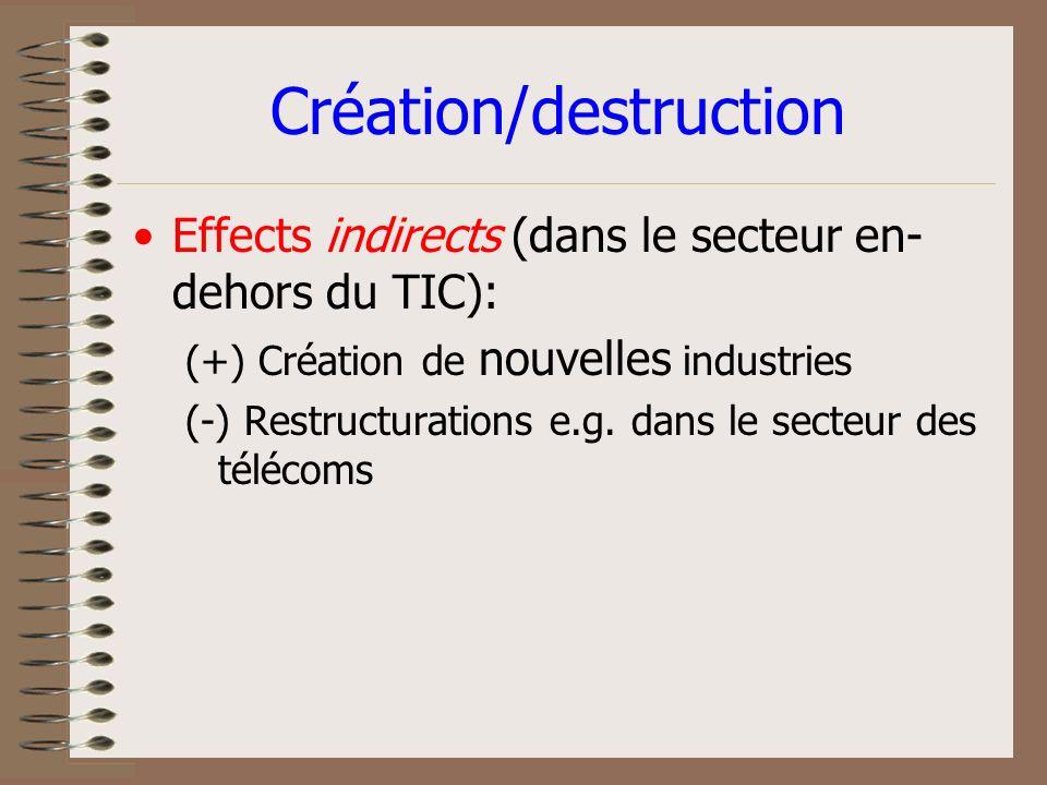 Technologie = création/destruction demplois? Où est la vérité? Effets directs (dans le secteur des TIC): (+) production, livraison de nouveaux produit