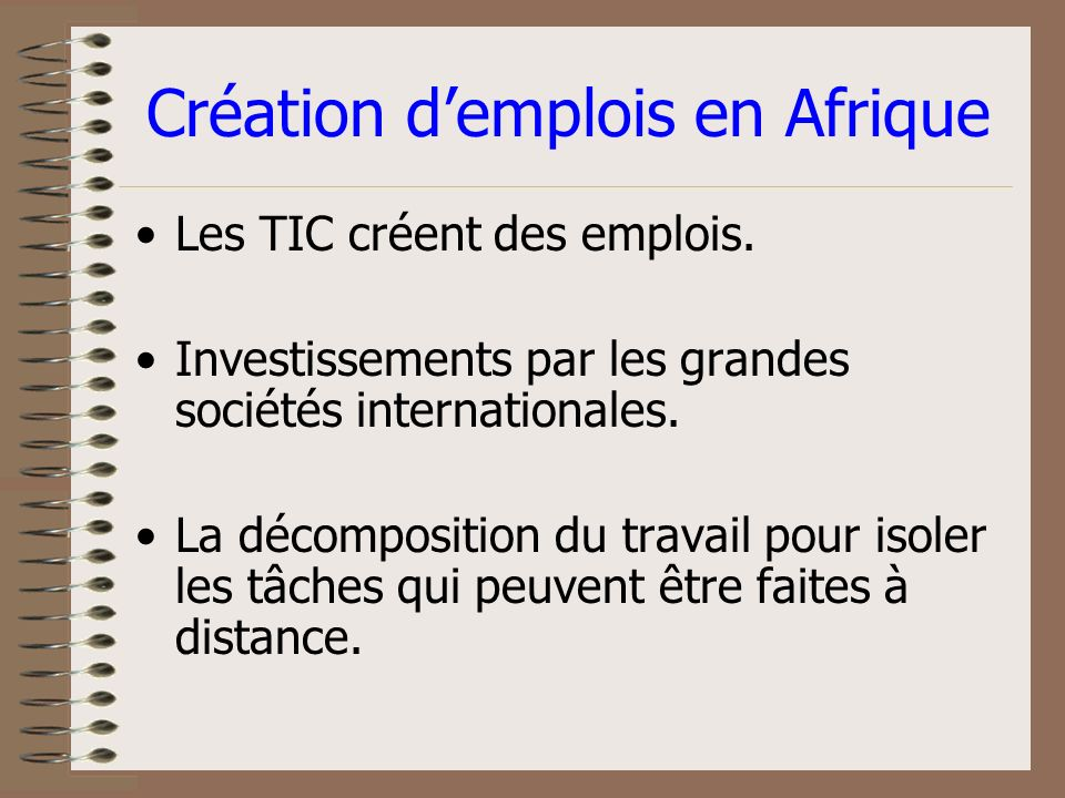 Création/destruction Effects indirects (dans le secteur en- dehors du TIC): (+) Création de nouvelles industries (-) Restructurations e.g.