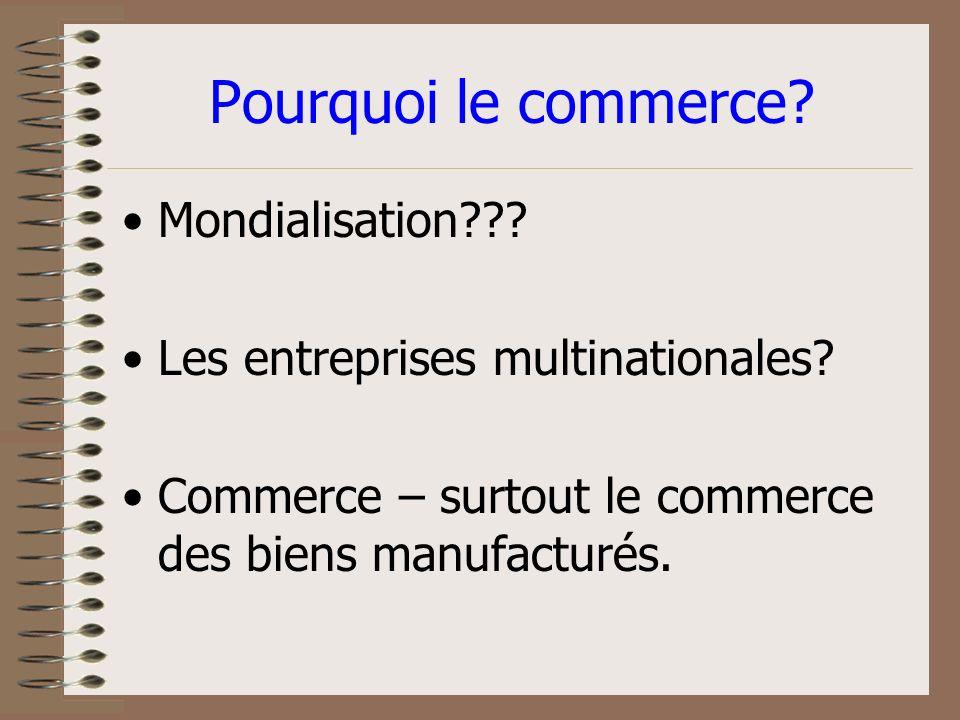 Pourquoi le commerce.Mondialisation??. Les entreprises multinationales.