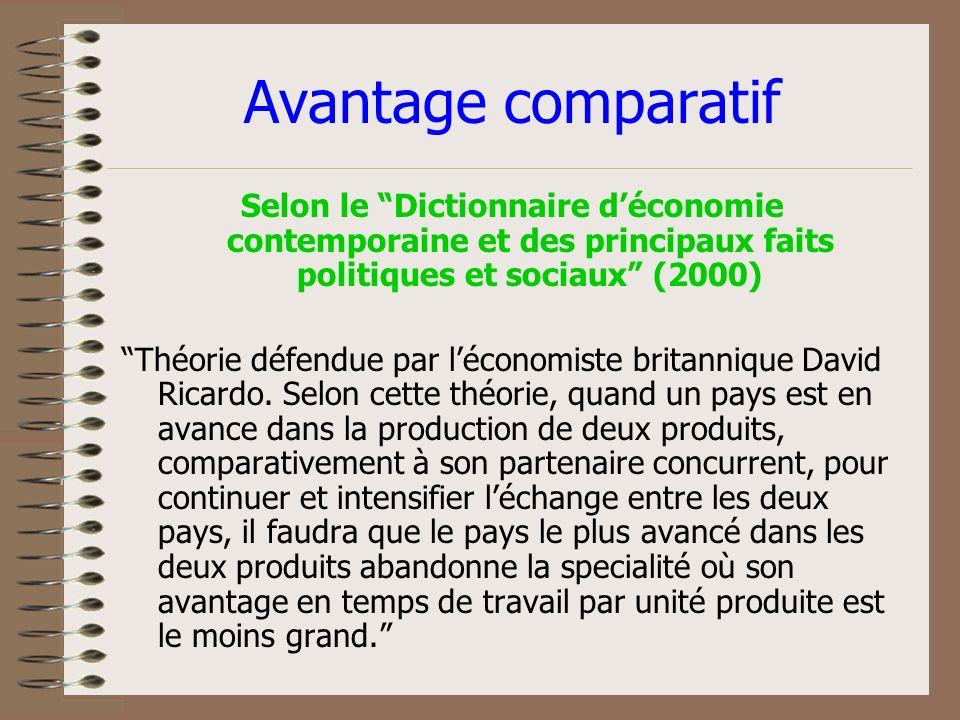 Avantage comparatif Selon le Dictionnaire déconomie contemporaine et des principaux faits politiques et sociaux (2000) Théorie défendue par léconomiste britannique David Ricardo.