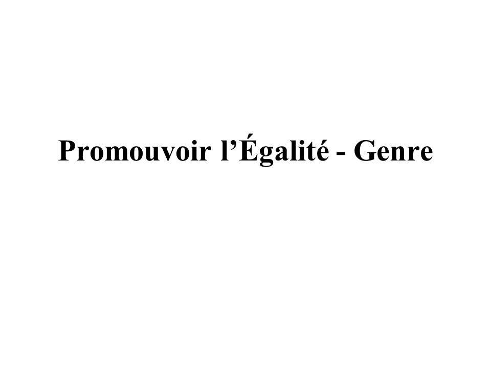 Promouvoir lÉgalité - Genre