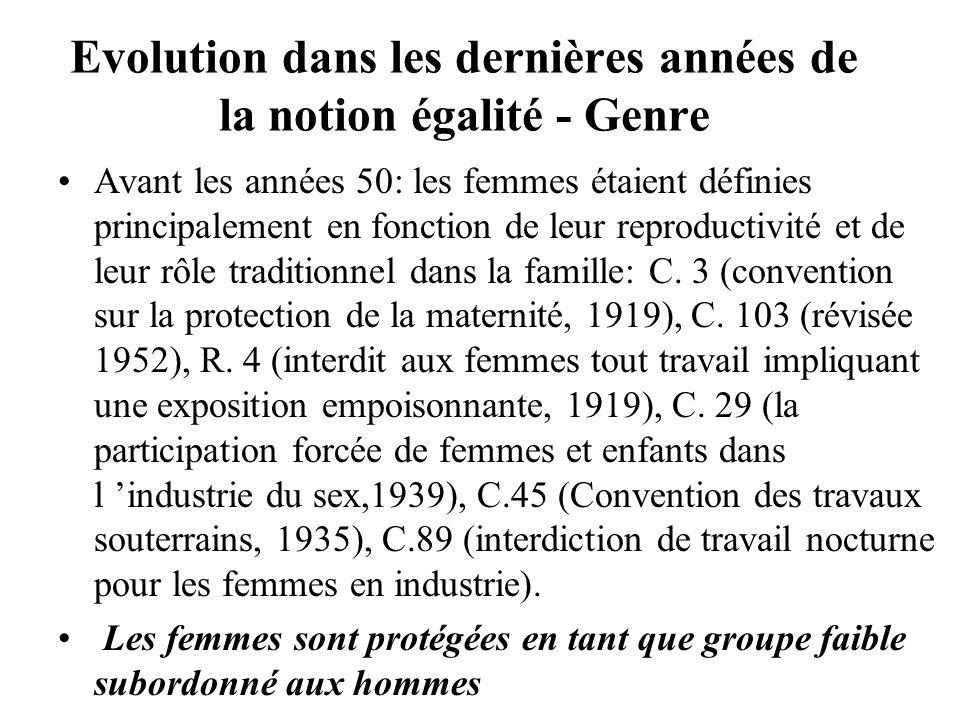 Evolution dans les dernières années de la notion égalité - Genre Avant les années 50: les femmes étaient définies principalement en fonction de leur reproductivité et de leur rôle traditionnel dans la famille: C.