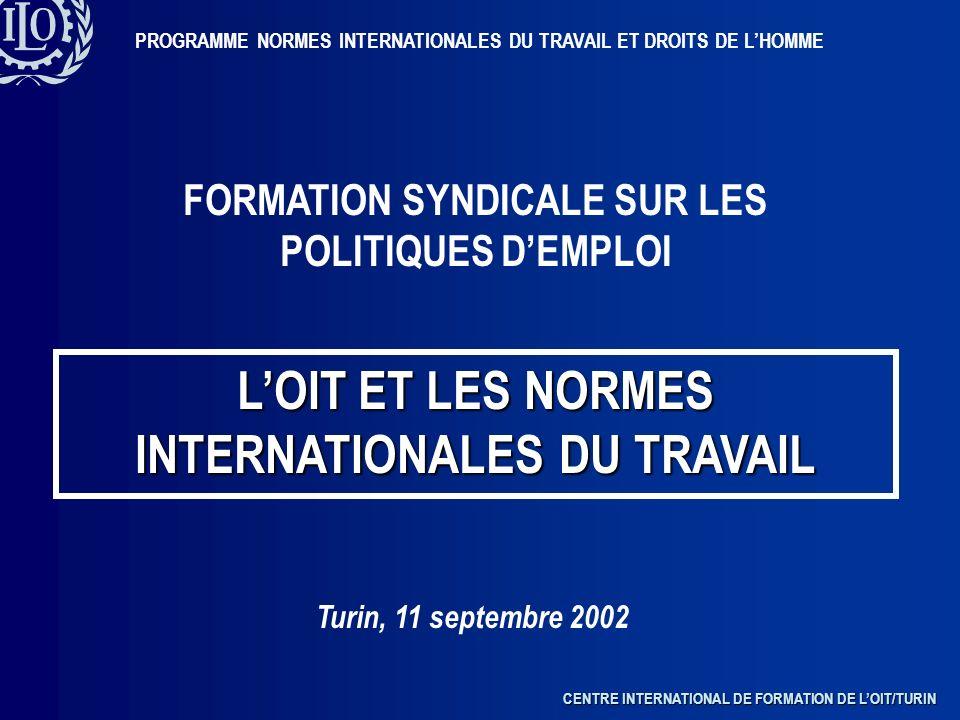 CENTRE INTERNATIONAL DE FORMATION DE LOIT/TURIN PROGRAMME NORMES INTERNATIONALES DU TRAVAIL ET DROITS DE LHOMME FORMATION SYNDICALE SUR LES POLITIQUES