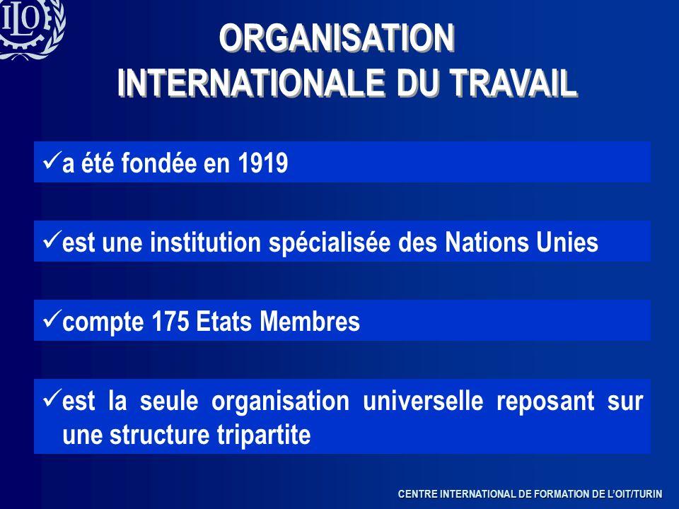 CENTRE INTERNATIONAL DE FORMATION DE LOIT/TURIN a été fondée en 1919 est une institution spécialisée des Nations Unies compte 175 Etats Membres est la