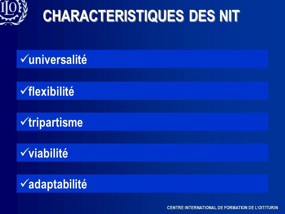 CENTRE INTERNATIONAL DE FORMATION DE LOIT/TURIN CHARACTERISTIQUES DES NIT universalité flexibilité tripartisme viabilité adaptabilité