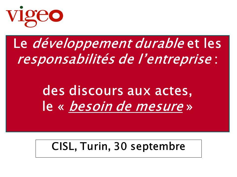 Présentation Turin – 30 Septembre 2003 - 2 Développement durable et responsabilités de lentreprise : le besoin de mesure 1.Polysémie : le développement durable, la RSE, lISR 2.Mode ou tendance de fond .