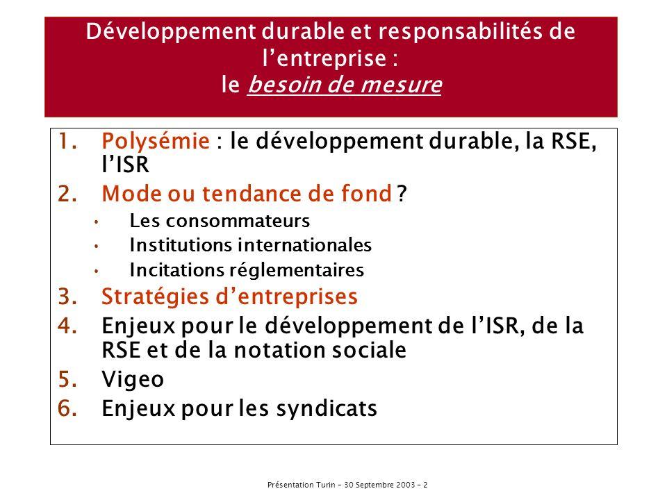 Présentation Turin – 30 Septembre 2003 - 3 Développement durable, responsabilité sociale de lentreprise, fonds éthiques, investissement socialement responsable….