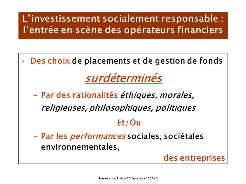 Présentation Turin – 30 Septembre 2003 - 9 Le développement durable, nouveau thème dinvestissement Origines de lISR Les sélections Croissance de lISR Signes et enjeux nouveaux pour les entreprises