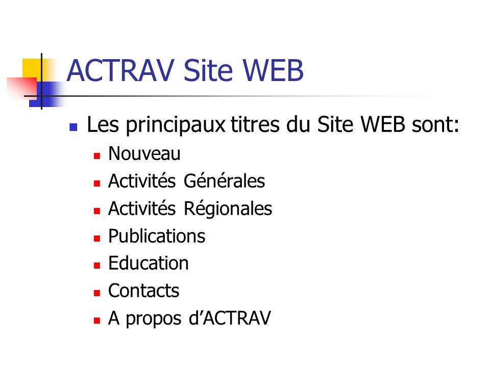 ACTRAV Site WEB Les principaux titres du Site WEB sont: Nouveau Activités Générales Activités Régionales Publications Education Contacts A propos dACTRAV