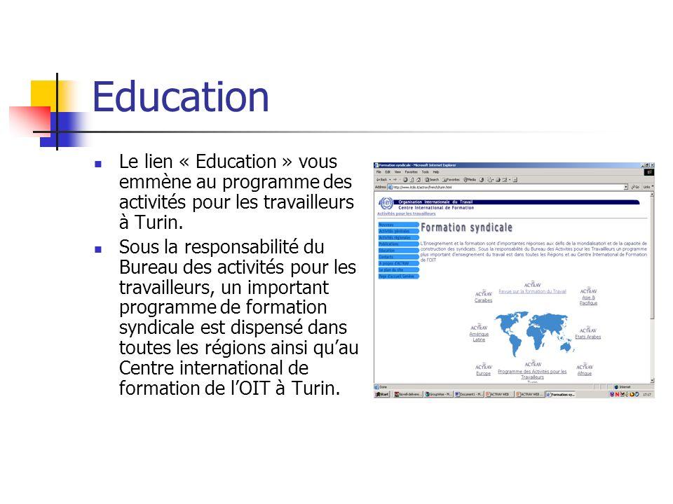 Education Le lien « Education » vous emmène au programme des activités pour les travailleurs à Turin.