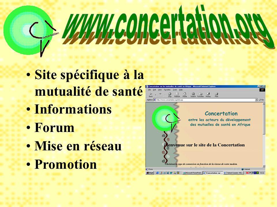 Site spécifique à la mutualité de santé Informations Forum Promotion Mise en réseau