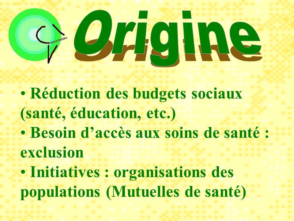 Réduction des budgets sociaux (santé, éducation, etc.) Besoin daccès aux soins de santé : exclusion Initiatives : organisations des populations (Mutuelles de santé)