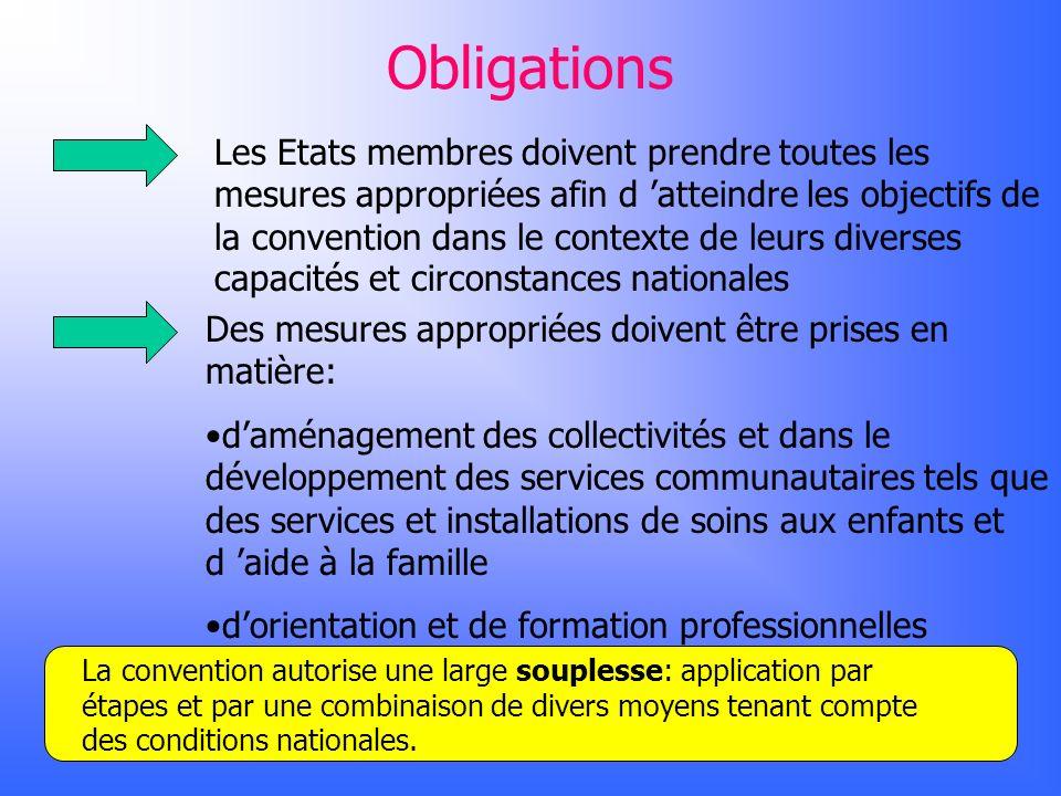 Obligations Les Etats membres doivent prendre toutes les mesures appropriées afin d atteindre les objectifs de la convention dans le contexte de leurs