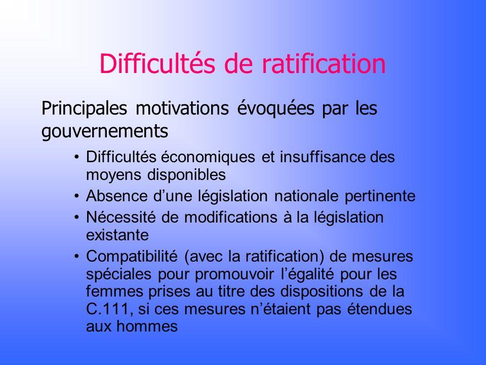 Difficultés de ratification Principales motivations évoquées par les gouvernements Difficultés économiques et insuffisance des moyens disponibles Abse